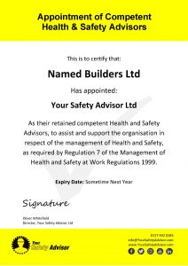 Retained Health and Safety Advisor Certificate